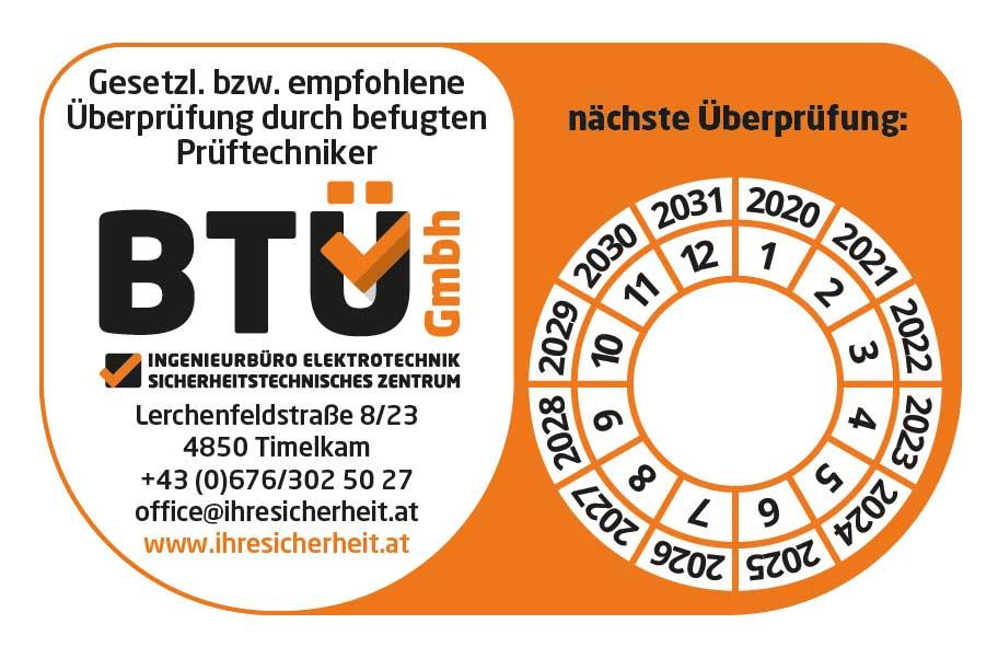 Prüfplakette BTÜ GmbH